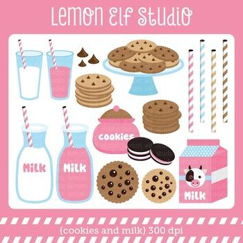Cookies and Milk-Digital Clipart (LES.CL42B)