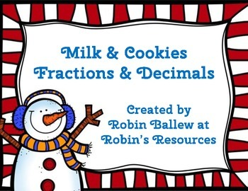 Fraction and Decimal Match *FREE* Milk and Cookies theme