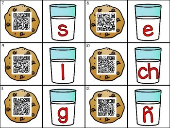 Cookies and Milk Initial Sound QR Code Activity in English and Spanish