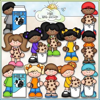 Cookies and Milk Kids Clip Art - Cookies and Milk Clip Art - CU Clip Art & B&W
