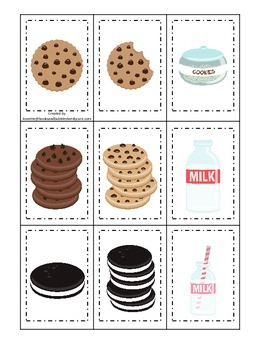 Cookies and Milk themed Memory Matching preschool activity.  Daycare educational