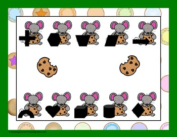 Cookies and a Mouse  Shapes File Folder Game