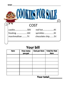 Cookies for Sale-fun with money worksheet