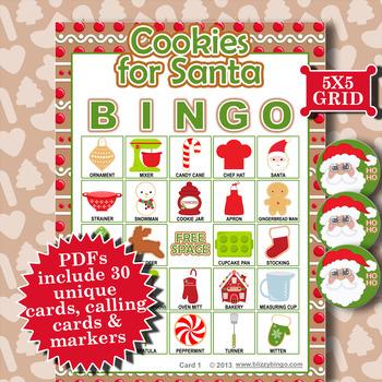 Cookies for Santa 5x5 Bingo 30 Cards