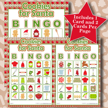Cookies for Santa 5x5 Bingo 60 Cards