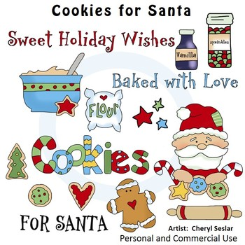 Cookies for Santa Color Clip Art C. Seslar