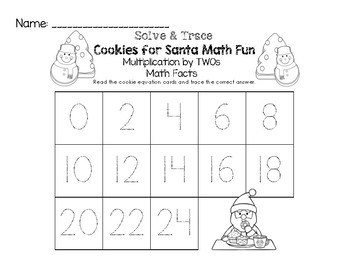 Cookies for Santa Math Fun Facts - Multiplication by TWOs