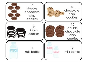 Cookies themed Picture Word and Counting Flash Cards.  Daycare learning.
