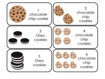Cookies themed Picture Word and Counting Flash Cards.  Day