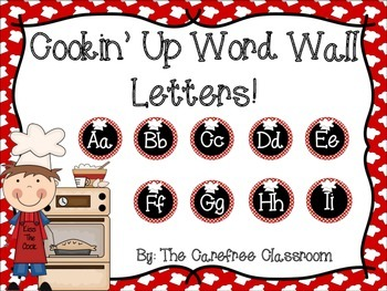 Cooking Theme Word Wall Letters