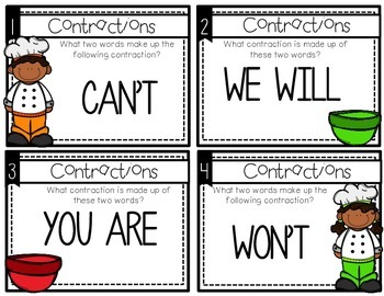 Cookin up Contraction task cards