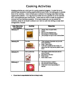 Cooking Activities January and Feb