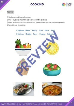 Cooking B1 Intermediate Lesson Plan For ESL