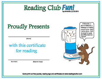 Cooking & Baking in the Kitchen Reading Log and Certificate Set