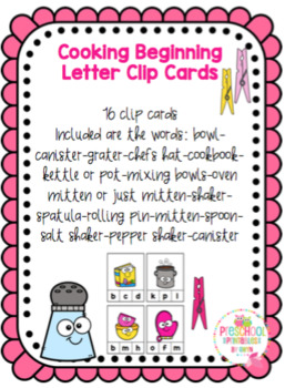 Cooking Beginning Letter Clip Cards