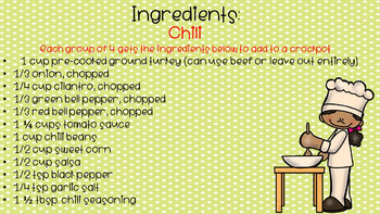 Cooking in the Classroom - Chili