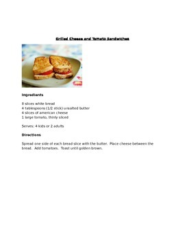 Cooking Club Menu and Letter to Parents