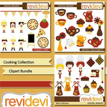Cooking Collection digital clip art bundle (3 packs) pizza, kitchen, tea party
