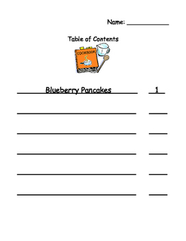 Cooking/Cook Book Glossary, Index, and Table of Contents