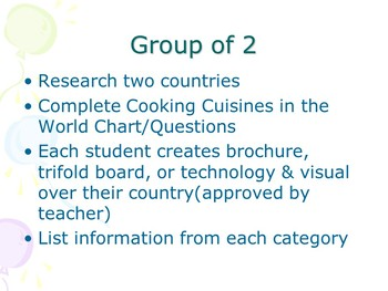 Cooking Cuisines In Our World Power Point and Project