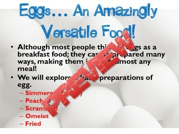 Cooking Egg Lesson PowerPoint and Notes for Culinary Arts and FCS Foods