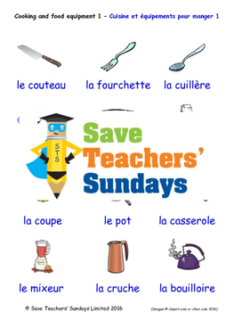 Cooking Equipment in French Worksheets, Games, Activities and Flash Cards (1)
