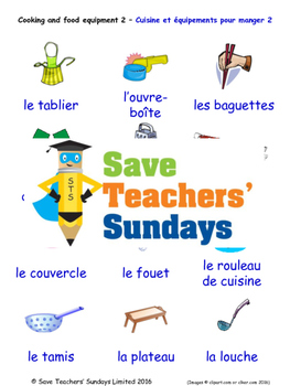 Cooking Equipment in French Worksheets, Games, Activities and Flash Cards (2)