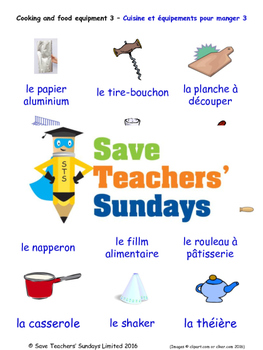 Cooking Equipment in French Worksheets, Games, Activities