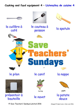 Cooking Equipment in French Worksheets, Games, Activities and Flash Cards (4)