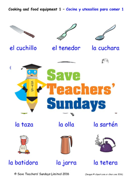 Cooking Equipment in Spanish Worksheets, Games, Activities and Flash Cards (1)