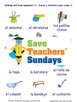 Cooking Equipment in Spanish Worksheets, Games, Activities and Flash Cards (2)