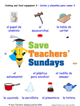 Cooking Equipment in Spanish Worksheets, Games, Activities and Flash Cards (3)
