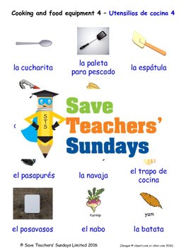 Cooking Equipment in Spanish Worksheets, Games, Activities and Flash Cards (4)