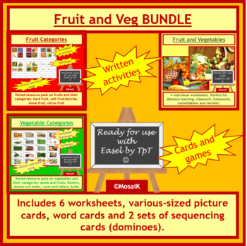 Cooking, Health: Fruit and Vegetable Activities and Worksheets BUNDLE