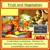 Cooking, Health: Fruit and Vegetables, 4 colorful worksheets