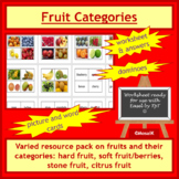 Cooking, Health: Know your fruit, Fruit categories - colorful resource pack