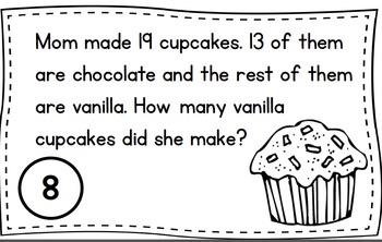 Cooking It Up - Word Problem Task Cards to 20