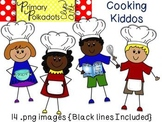 Cooking Kiddos {Primary Polka Dots Clip Art}
