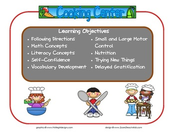 Cooking Learning Center Sign~ With Objectives