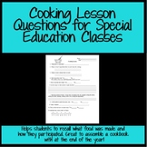Cooking Lesson Questions for Special Education Class