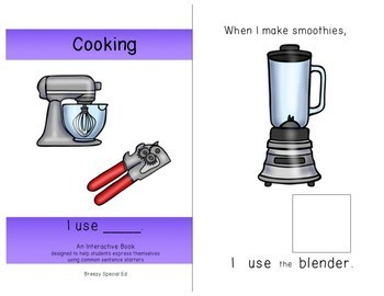 Cooking Materials (I Use) Interactive/Adapted Sentence Starter Book - special ed