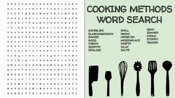 Cooking Methods Word Search; FACS, Culinary, Bellringer, Worksheet