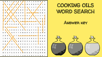 Cooking Oils Word Search; FACS, Culinary, Bellringer, Fat, Health, Nutrition