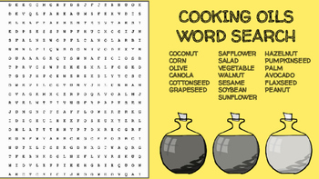 Cooking Oils Word Search; FACS, Culinary, Bellringer, Fat,