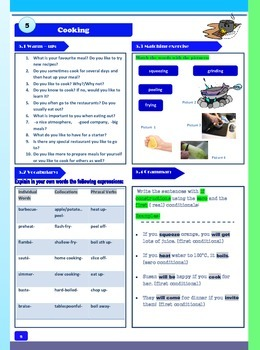 Cooking- One Page Worksheet for ESL/EFL  Students