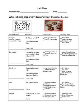 Cooking Plan Sheet