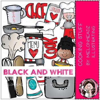 Cooking Stuff clip art - BLACK AND WHITE - Melonheadz Clipart