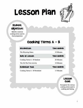 Cooking Terms - 5 Day Unit