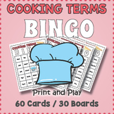 Cooking Terms Bingo Game