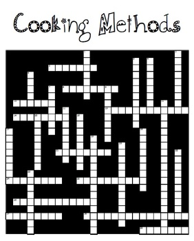 Cooking Methods Crossword Puzzle for FCS Culinary Arts 1 course